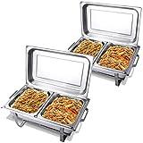 COSTWAY 2 x Chafing Dish Speisewärmer Warmhaltebehälter Wärmebehälter Warmhaltegerät mit Brennpastenbehältern Edelstahl