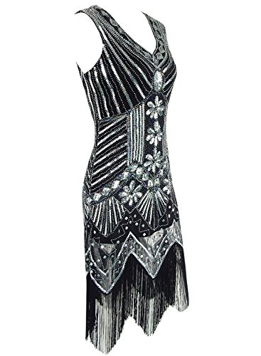 Azbro Women's V Neck Sleeveless Sequins Club Dress with Tassel Black