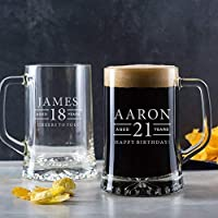 Personalised Engraved Pint Glass Tankard / 18th Birthday Gifts For Boys/Personalised 21st Birthday Gifts for Men