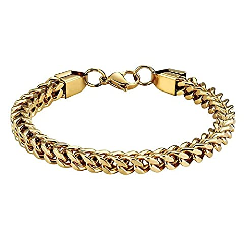 Anazoz Fashion Stainless Steel Jewelry Double Curb Link Chain Gold High Polished Bracelets For Mens