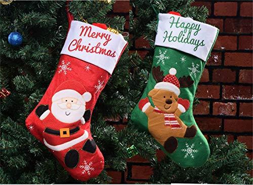 MUXItrade 2er Set Filz-Nikolausstiefel zum Befüllen und Aufhängen - Nikolaus-Strumpf - rot/weiß/grün mit weihnachtlicher Stickerei