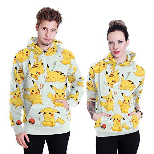 Pikachu Familie Kostüm - Story of life Damen Halloween Langarm Hoodies Unisex 3D Leichte Sweatshirts Pikachu Digital Print Kapuzenpullover Paar Pullover,Gelb,XXL