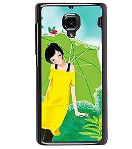 Printvisa Yellow Dressed Girl With An Umbrella Back Case Cover for Xiaomi Redmi 1S::Xiaomi Redmi (1st Gen)