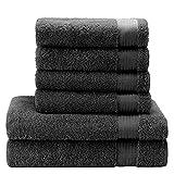 Twinzen Chemikalien-Frei Handtuch Set (6-Teilig) mit 4 Handtücher und 2 Badetüchern, 100% Baumwolle - Oeko TEX Std 100 Zertifizierung - Weich und Saugstark - Waschmaschinenfest -...