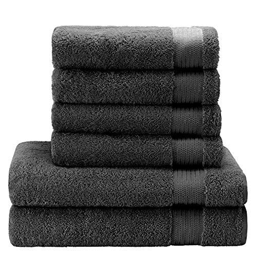 Twinzen  Lot Serviette de Bain (6 pièces), 100% Coton, sans Produits Chimiques - 4 x Essuie Main (50 x 80 cm) et 2 x Drap de Bain (140 x 70 cm) - Oeko TEX - Serviettes de Bain Douces et Absorbantes