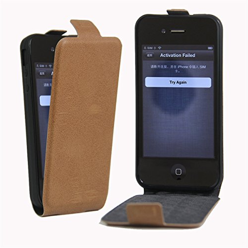 4S Hülle Case,iPhone 4S Hülle Case,Gift_Source [Photo Card Slot] [Stand Feature] Elegant Up-Down Open Magnetic Snap Hülle Case Premium PU Leder Hülle Case Flip Hülle Case Cover für Apple iPhone 4/4S [ E01-02-Brown160614