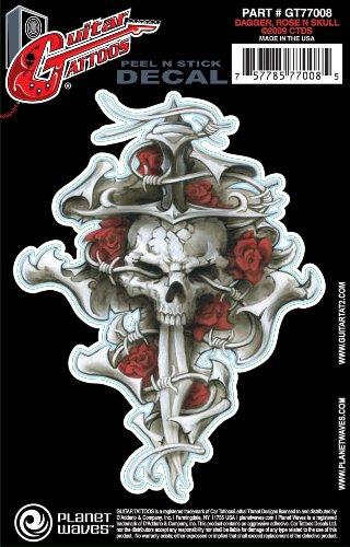 Planet Waves Guitar Tattoo - Dagger Rose Skull