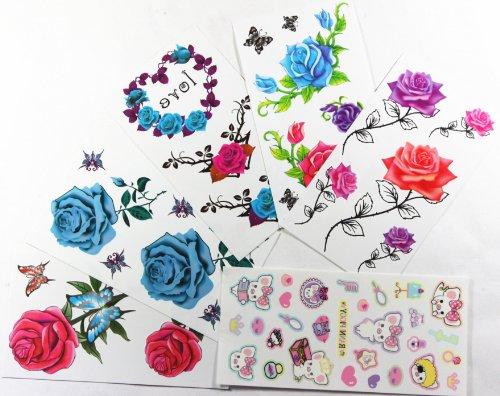 Combineshopping neueste heißer Verkauf neue Design wasserdicht ungiftig Tattoo-Aufkleber Kombination 6pcs/package verschiedenen Designs , enthält es verschiedene bunte Blumen / Rosen / Schmetterlinge / Comic-Vögel / Bienen / Kaninchen / (Up Make Kaninchen)