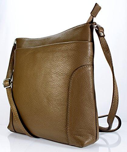 04792fe1d45f0 Echt Leder Damentasche Umhängetasche Ledertasche Handtasche Schultertasche  (cognac) taupe ...