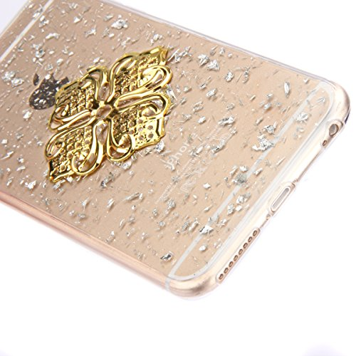 iPhone 6S Plus Silicone Case,iPhone 6 Plus Coque - Felfy Ultra Slim Transparent Flexible Soft Gel Luxe Case Bling Sparking Glitter Diamond Protection Souple TPU Case Cover Coque Etui Housse (or Case o Argent Case or Fleur Quadrilatère