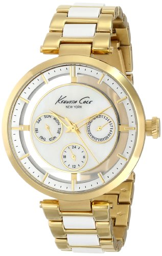 kenneth-cole-new-york-womens-kc4988-transparency-round-multi-function-transparent-yellow-gold-bracel