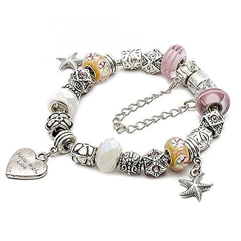 RUBYCA Silver Tone European Charm Bracelet 8.7 Pink & Yellow Murano Glass Beads DIY Jewelry Kit 28 by RUBYCA