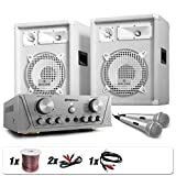"E-Star Set DJ PA White Star Series ""Grönland Deluxe"" Dj Set Impianto Audio Completo (1 coppia di altoparlanti 800 Watt, 1 x amplificatore, 2 x microfoni wireless, 1 x Set di cavi)"