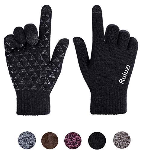Ruiuzi Winter Touchscreen Warme Handschuhe für Damen Herren Thermo Strick Wolle Gefüttert (Schwarzes neues Logo, L)