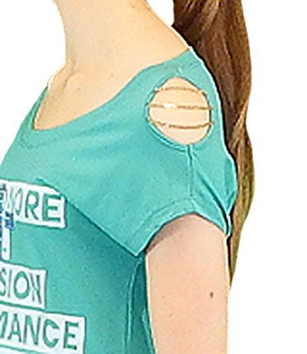 S&LU angesagtes Damen-Shirt mit aufwendiger Kettenverzierung Einheitsgrößen S/M und L/XL Türkis
