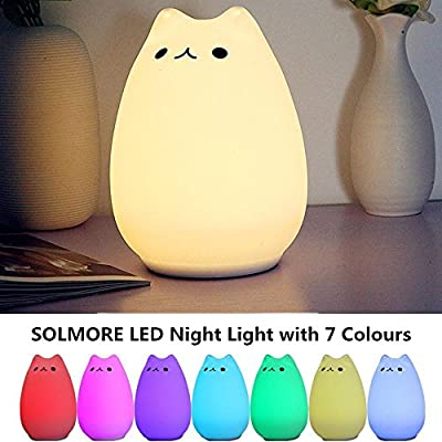 Children Night Light,SOLMORE LED Cute Silicone Cat Lamp,Kids Bedside Lights,Warm White/7-Colour Single/Color changing,USB Rechargeable,Sensitive Tap Control Fairy Light for Baby Bedroom Nursery Birthday Gift by SOLMORE