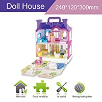DIY Doll House With Furniture Miniature House Luxury Simulation Dollhouse Assembling Toys For Kids Children Birthday Gifts - Purple