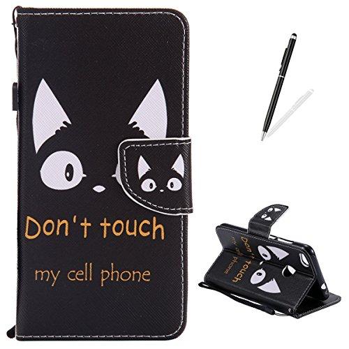 KaseHom Huawei P8 Lite 2017 Hülle Premium PU Leder Stand-Funktion Magnetischer FlipVollschutzStoßfestWallet Type Case AbdeckungSchale (Don't Touch My Cell Phone)