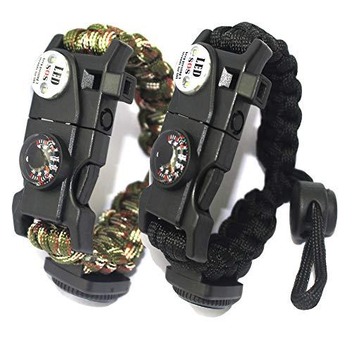 Braccialetto Paracord Sopravvivenza Militare Kit, Bracciale Sopravvivenza Regolabile con Flint + Bussola + Termometro per attività all'aperto Escursionismo Campeggio di Emergenza