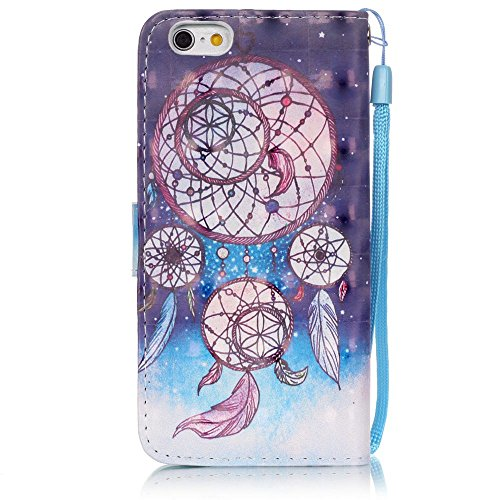 iPhone 6S Hülle, iPhone 6 Hülle, ISAKEN iPhone 6S 6 Hülle Muster, Handy Case Cover Tasche for iPhone 6S / 6, Bunte Retro Muster Druck Flip Cover PU Leder Tasche Case Schutzhülle Hülle Handy Tasche Etu Ornament Himmel