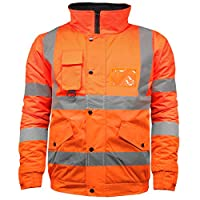 High Visibility Safety Security Reflective Workwear Bomber Jacket
