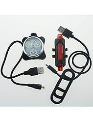 NSD USB rechargeable 3LED Blanc Lumière de vélo avant et arrière pour vélo 5lampes LED Rouge Lampe