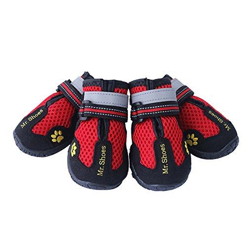 Petacc Botas de Perro Zapatos Perro Antideslizantes Zapatos de Malla de Mascotas Transpirables, Ideal para Caminar, Correr, Caminar, Escalar y Viajar, Rojo (8#)