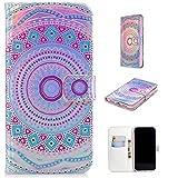 Ostop Leder Brieftasche Hülle für iPhone XS Max,Kartenfächer Handyhülle mit Rosa Blau Totem Muster Stand PU Schutzhülle Magnetisch Bunt Flip Abdeckung