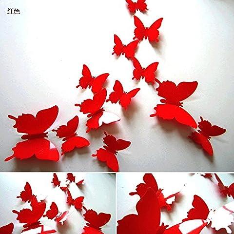 3D stereo simulazione parete Butterfly decorativi adesivi soggiorno camera da letto mobile porta TV in vetro a parete magneti da frigorifero,rosso