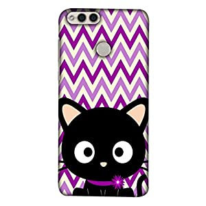 Printfidaa Huawei Honor 7X, BND-L21, BND-L22, BND-L24 Mate SE, BND-AL10, BND-TL10 Back Cover Kitten with Purple Zig Zag Lines Pattern Printed Designer Back Case.