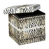 Relaxdays Tiger Beige Puff Pieghevole, Finta Pelle, Multicolore, 38x38x38 cm
