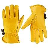 Kim Yuan Leder-Arbeitshandschuhe für den Gartenbau///Farm, für Männer und Frauen, mit elastischen Handgelenk, M/L/XL, gelb