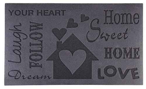 Esschert Design RB128 Relief-Türmatte Love, Pet, recyceltes PVC, schwarz, 75 x 45 x 0.5 cm