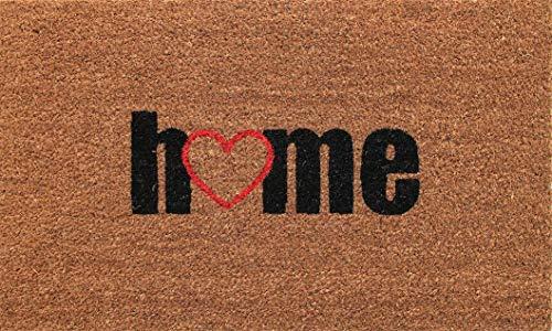 Coco & Coir Natural Coir | Antideslizante | Coco Grueso Respaldo de Goma | Ecológico | Interior | Exterior | Resistente | Serie Home | Felpudo de Entrada | 45 x 75 cm (Love Home)