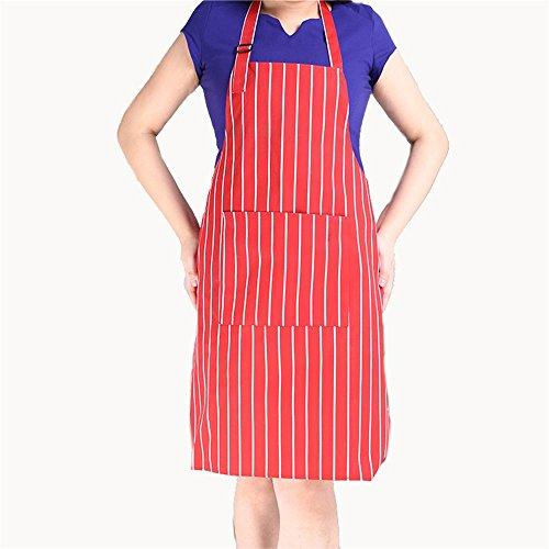 Nunubee Schürzen Küchen Haushalt Grillschürzen Arbeitskleidung Heimtextilien, Rot-weiß gestreifte 80*56cm