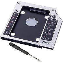 "e-bour Universal 9,5mm disco duro Caddy SATA a SATA 2nd HDD Caddy bandeja de disco duro adaptador caja de repuesto para para Asus Acer HP Dell BenQ Sony 2.5""SSD"