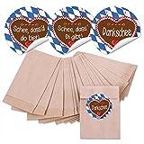 48 kleine braune MINI Papiertüten Geschenktüten Geschenk-Verpackung (6,3 x 9,3 cm) und 48 runde Aufkleber Sticker Bayern