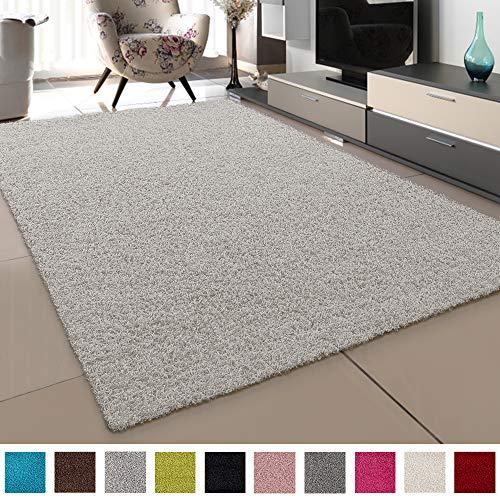SANAT Teppich Wohnzimmer - Creme Hochflor Langflor Teppiche Modern, Größe: 160x230 cm