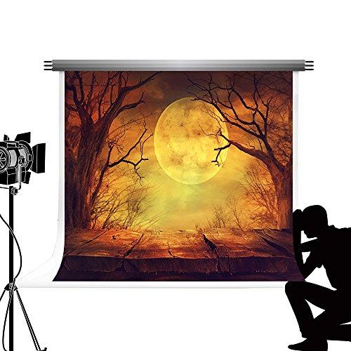 Kate Mond Nacht Himmel Hintergrund Wald Holzboden Kulisse für Halloween Fotografie Studio Fotos 10x10ft / 3x3m