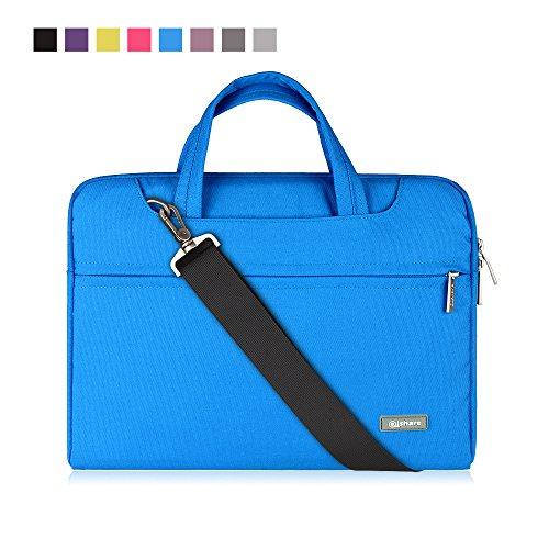 Qishare 13.3-14 Inch Laptop Bag,Multifunctional Fabric Laptop Case,Portable Sleeve Briefcase,Adjustable Shoulder Strap&Suppressible Handle(Blue)