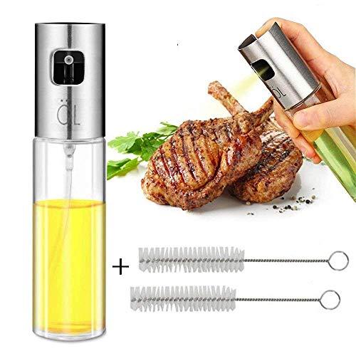 Dricar Öl Sprüher Pump, Edelstahl Olivenöl Spray und Kochen Balsamico Essig Öl Sprüher mit 2 freien Öl-Bürsten für Pasta, Salate, Grills und Barbecue (100 ml)