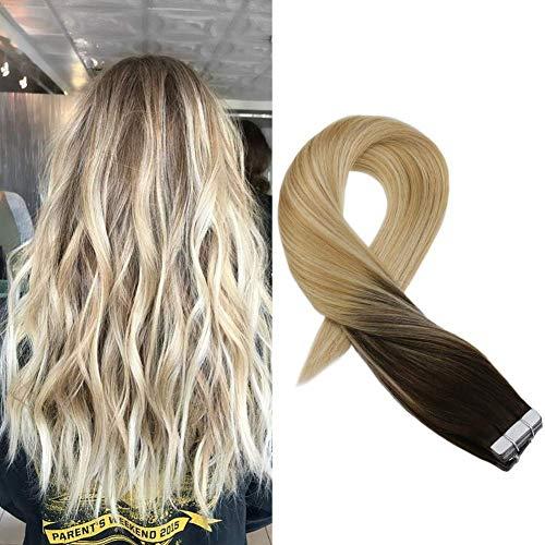Moresoo, remy - extension di capelli veri, con nastro per pelle, estensioni di capelli veri, 20 pezzi, 50 g
