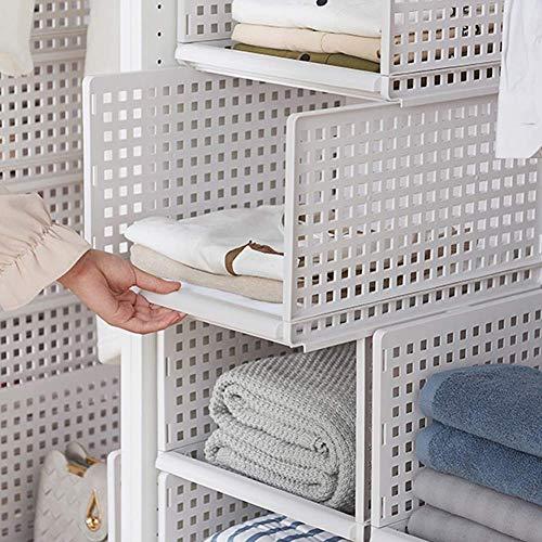 Kunststoff-Kleiderschrank, Aufbewahrungs-Organizer, Plastik weiß Abnehmbarer Schrank-Organizer zum Schieben und Ziehen für Kleidung Groß & Klein -2 Regal(33x42.5x18cm) ()