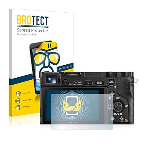 2x BROTECT Displayschutzfolie Sony Alpha 6000 Schutzfolie Folie - Klar, Anti-Fingerprint (Neu Kamera Sony)