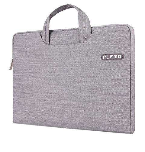 Plemo Denim-Gewebe Tasche Hülle Aktentasche Sleeve für 33-33,8 cm (13-13,3 Zoll) Laptop / Notebook Computer / MacBook / MacBook Pro / MacBook Air, Grau (Mädchen Tasche Für Sleeve Laptop)