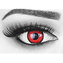 Farbige Kontaktlinsen Jahreslinsen Meralens 1 Paar rote schwarze Crazy Fun red lunatic .Topqualität zu Fasching Karneval Fastnacht Halloween mit Kontaktlinsenbehälter ohne Stärke!