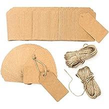 200 piezas Etiquetas de papel Kraft con 50 metros Cordón de yute, 4.5cm × 9.5cm Etiquetas de regalo