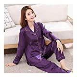 HAOLIEQUAN Herbst Frühling Frauen Damen Satin Silk Pyjamas Sets Langarmshirts + Hosen Nachtwäsche Mujer Nachtwäsche Pyjama Femme Unterwäsche, XXL