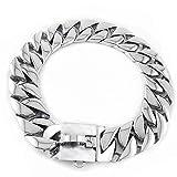 Würgehalsbänder Starke Kette Schlange Metallhalsband Hundehalsbänder Halskette Pet Hals Seil Silber (45 cm * 32Mm) (Color : -, Size : -)