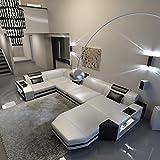 Schlichter Möbel Wohnmöbel Sofagarnitur Polstergarnitur Designsofa Sofa Kalmar U Weiß-Schwarz